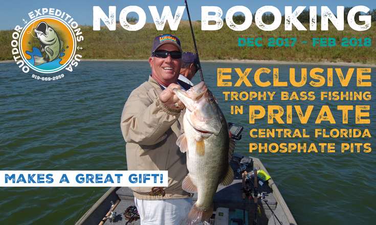 Outdoor Expeditions USA offers exclusive trophy bass fishing in private Central Florida phosphate pits